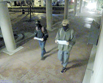 Video images of suspects in a hate crime —  anti-semitic tagging on Burlington City Hall and Art Gallery of Burlington.