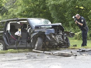 A driver has been rushed to a trauma centre after a crash on Guelph Line in Milton Friday (July 23) involving this Jeep SUV.