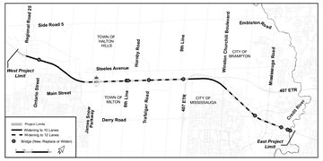 Map of the Highway 401 expansion.