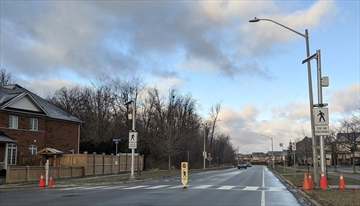 The upgraded pedestrian crossover at Maple Avenue and Book Drive.