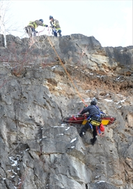 Milton Fire Department used a haul system rescue, like the one pictured in this training exercise, to help a rock climber who fell 25 feet at Crawford Lake Conservation Area Sunday afternoon.