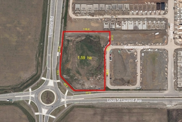An aerial view of the site of the proposed development in Milton.
