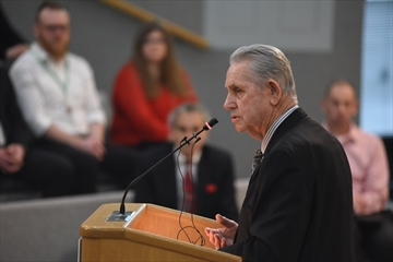 Mayor Gord Krantz moved the latest resolution at regional council that opposes CN's intermodal plans for south Milton.