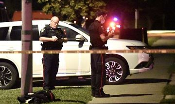 Halton police searching for clues on Freeman Street in Burlington after a shooting there Thursday evening (Sept. 9). The gunman remains on the loose.