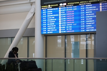 Flight information at Pearson International Airport in Toronto during the morning of the storm.