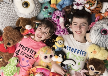 Stuffies 4 Smiles' Juliana Loforte, 6, and John-Paul Loforte, 8, collect stuffies from the community and distribute them to children, seniors and others who need a boost.