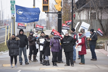 Halton public high school teachers and support workers, shown during a one-day province-wide strike Dec. 4, will not be among designated education boards striking Dec. 11, however, they will resume information pickets before and after school.
